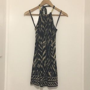 Cache sleeveless blouse neck tie black tan size xs